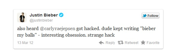 Justin Bieber's Twitter Account Hacked