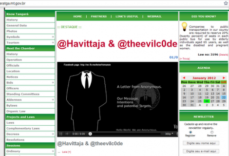 Anonymous Attack on Brazilian Websites - Tangara da Serra City Website Hacked and Defaced