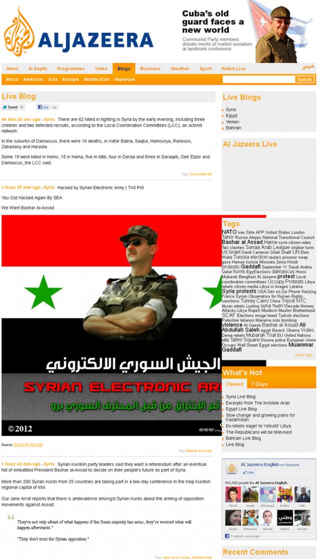 Al Jazeera news channel website hacked by Syrian Hackers