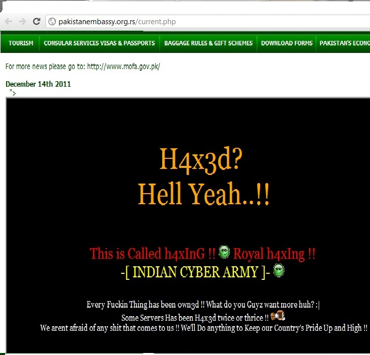 Pakistani Embassy in Serbia website hacked by Indian Cyber Army