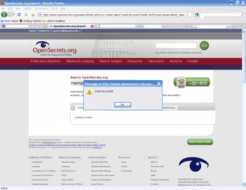 XSS Vulnerability Found On OpenSecrets.org By Zhc Point