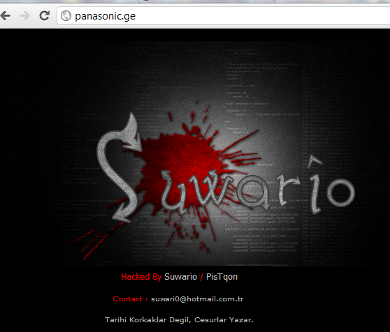Panasonic's Georgia Website Hacked by Suwario / PisTqon from Turkey