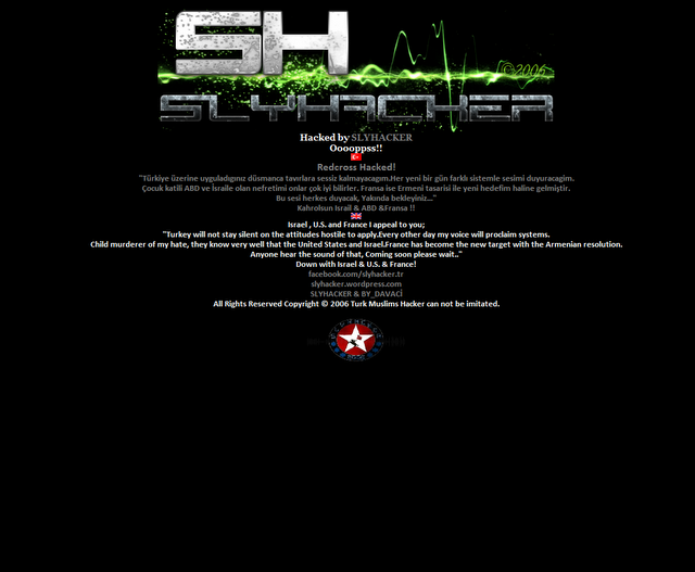 Sri Lanka Red Cross site hacked by Turkish hacker SLYHACKER