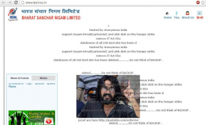 BSNL telecom server hacked by Anonymous Group against Section 66A of IT Act