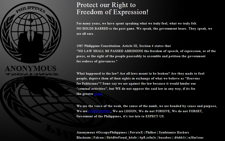 Anonymous-Philippine National Police site hacked