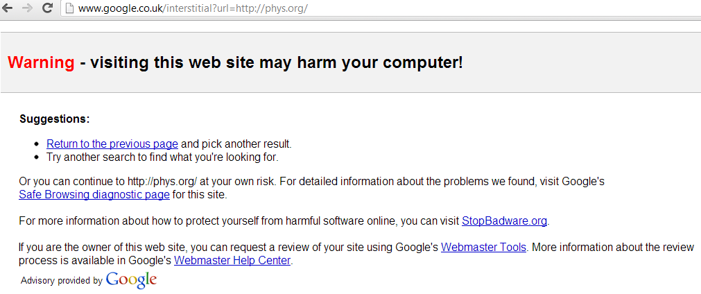 phys.org-hacked-google-warning-malware