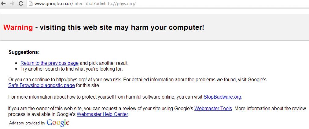phys.org-hacked-google-warning-malware
