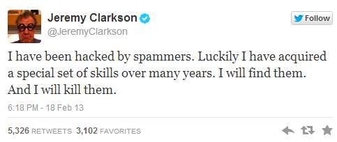 Top Gear's Presenter Jeremy Clarkson's Twitter account hacked