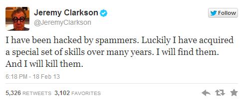 Top Gear's Presenter Jeremy Clarkson's Twitter account hacked
