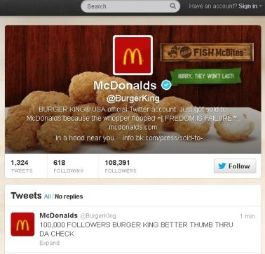 Burger King's Twitter account hacked, defaced into McDonalds