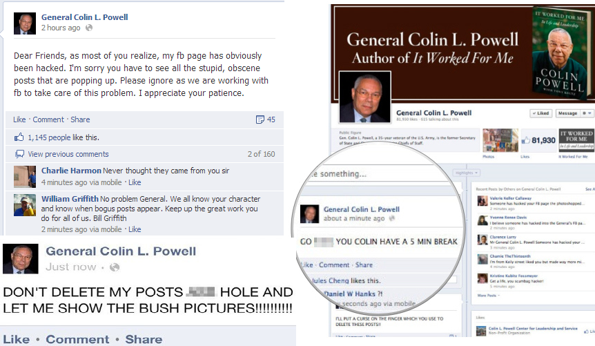 Colin Powell's Facebook-hacked