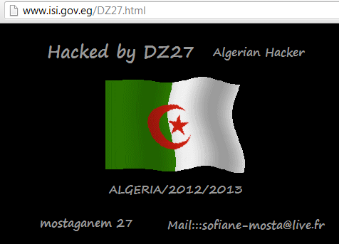 Egyptian Armed Forces Information System Institute and Tourism Authority Website Hacked by DZ27 (2)