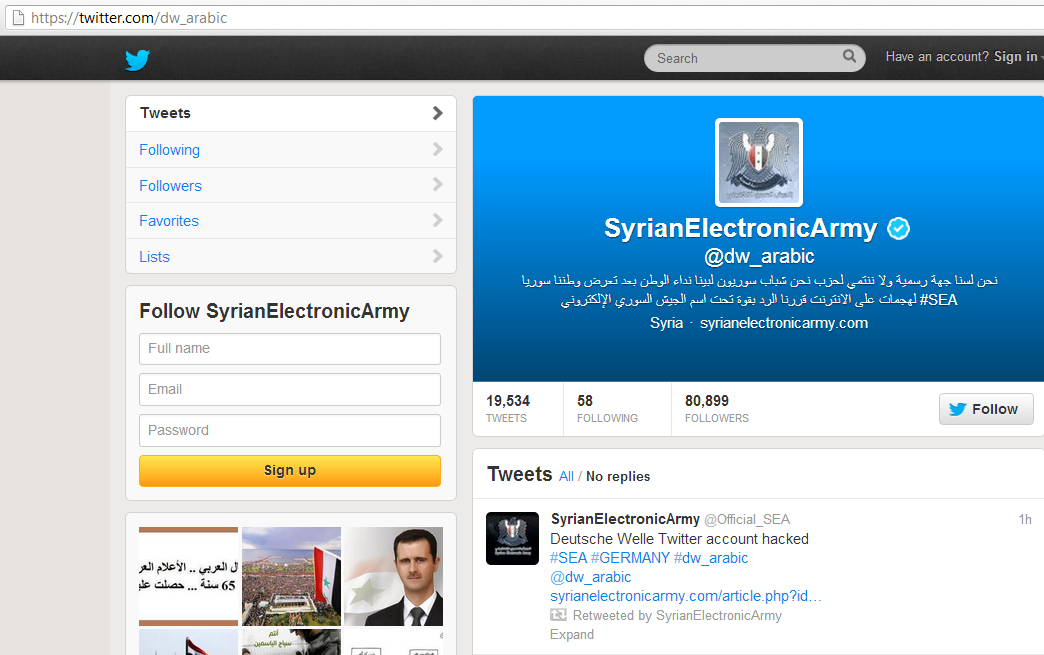 German Broadcaster Deutsche Welle's Twitter account Hacked by Syrian Electronic Army (2)
