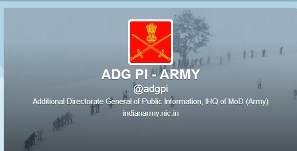 Indian Army Joins Twitter with handle of @adgpi