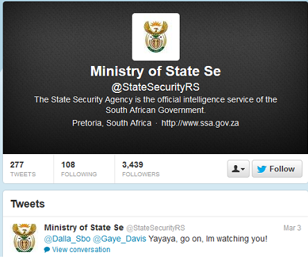 South African Ministry of State Security's Twitter Account Hacked