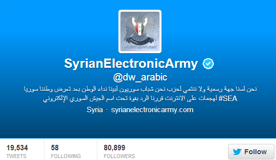 German Broadcaster Deutsche Welle's (DW) Twitter account Hacked by Syrian Electronic Army