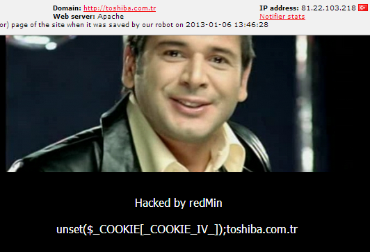 Official Toshiba Turkey Website Hacked & Defaced by redMin