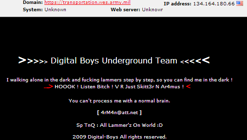 U.S. Army's Engineers Corps Website (transportation.wes.army.mil) Hacked and Defaced by Digital Boys