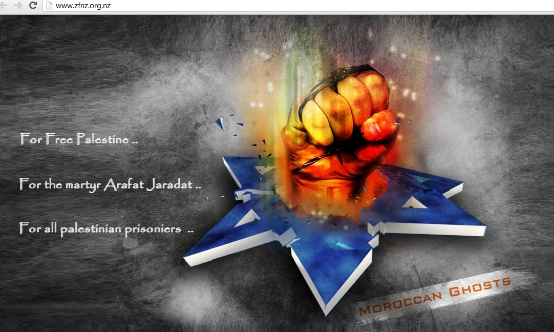 Zionist-Federation-of-New-Zealand -hacked-by-Moroccan-Ghost-hackers