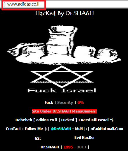 adidas-israel-hacked-by-drsha6h-Twitter