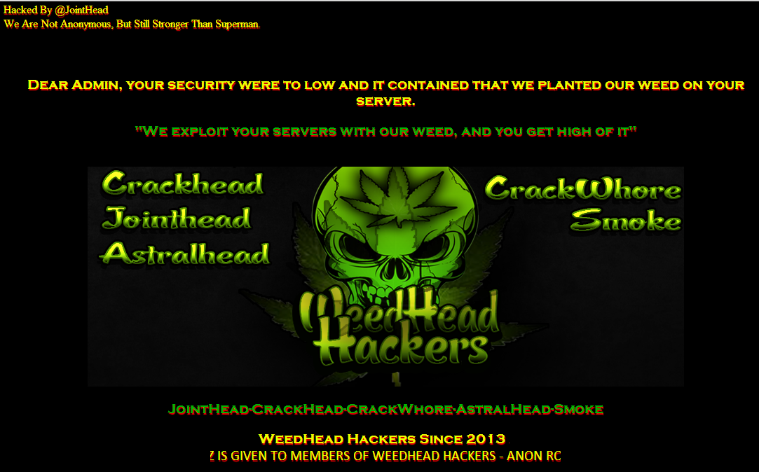 63 Chinese Government Websites Hacked by WeedHead Hackers