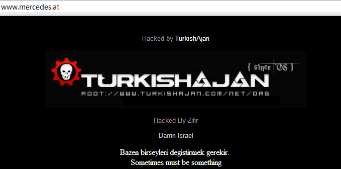 Mercedes-Benz Website Defaced by Zifir of TurkishAjan Hacking Group