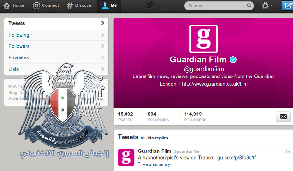 Syrian Electronic Army hackers Hijack 11 Twitter accounts of Guardian Newspaper
