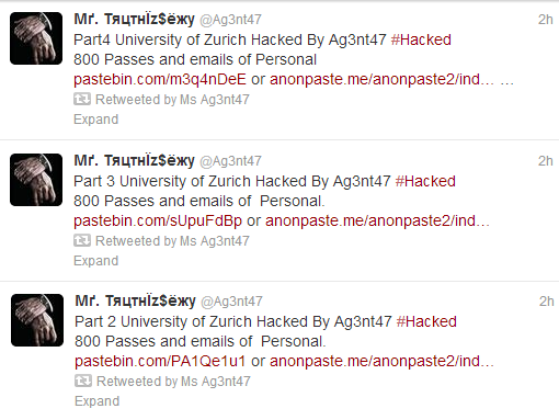 University of Zurich Hacked, Login Information Leaked by Ag3nt47