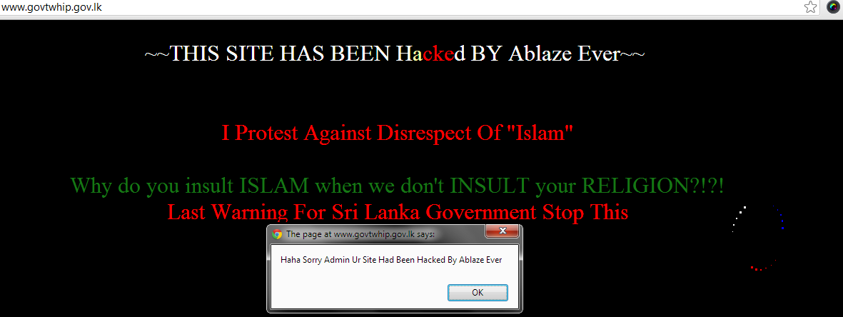 Websites of SriLankan Ministry of Rehab & Prison Reforms and Chief Government Whip of Parliament Hacked