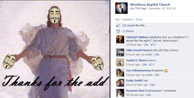 Westboro Baptist Church's Official Facebook Page Hacked by Anonymous-2