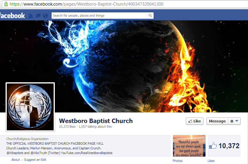 Westboro Baptist Church's Official Facebook Page Hacked by Anonymous