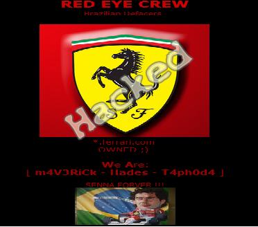 10 Official Ferrari Motors Websites Hacked, Server Defaced by Brazilian Red Eye Crew