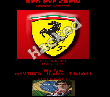 10 Official Ferrari Motors Websites Hacked, Server Defaced by Brazilian Red Eye Crew