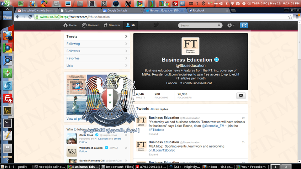 Financial Times Website and 17 Twitter Accounts Hacked by Syrian Electronic Army
