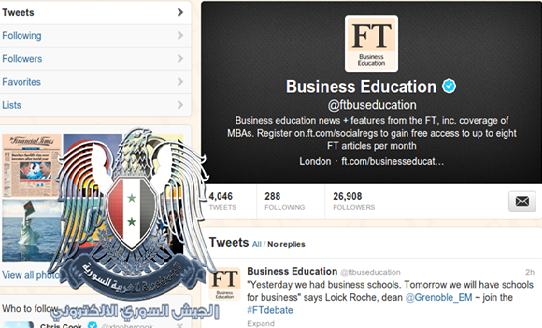 Financial Times Blog and 17 Twitter Accounts Hacked by Syrian Electronic Army