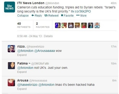 ITV News London Twitter account Hacked by Syrian Electronic Army