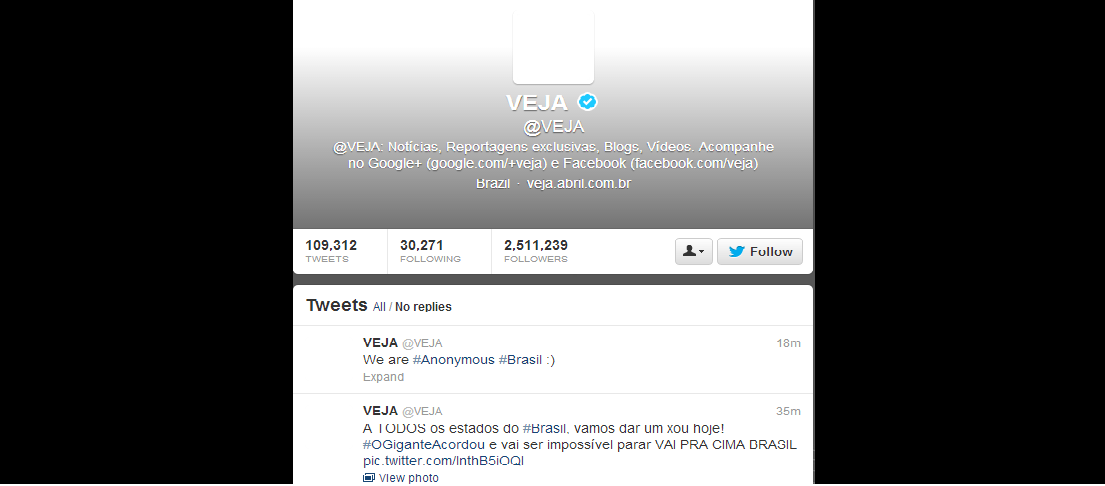 Anonymous Hacks Brazil's Largest Magazine VEJA's Twitter account, invites Brazilians to Protest against Government-2