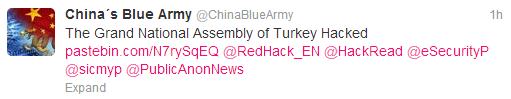 #OpTurkey-Grand National Assembly of Turkey Website Hacked, Login details Leaked by China Blue Army
