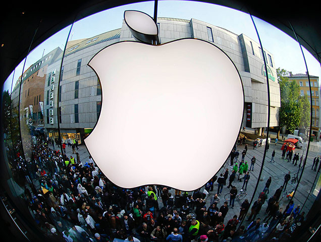 Munich, Germany: Customers gather outside an Apple store