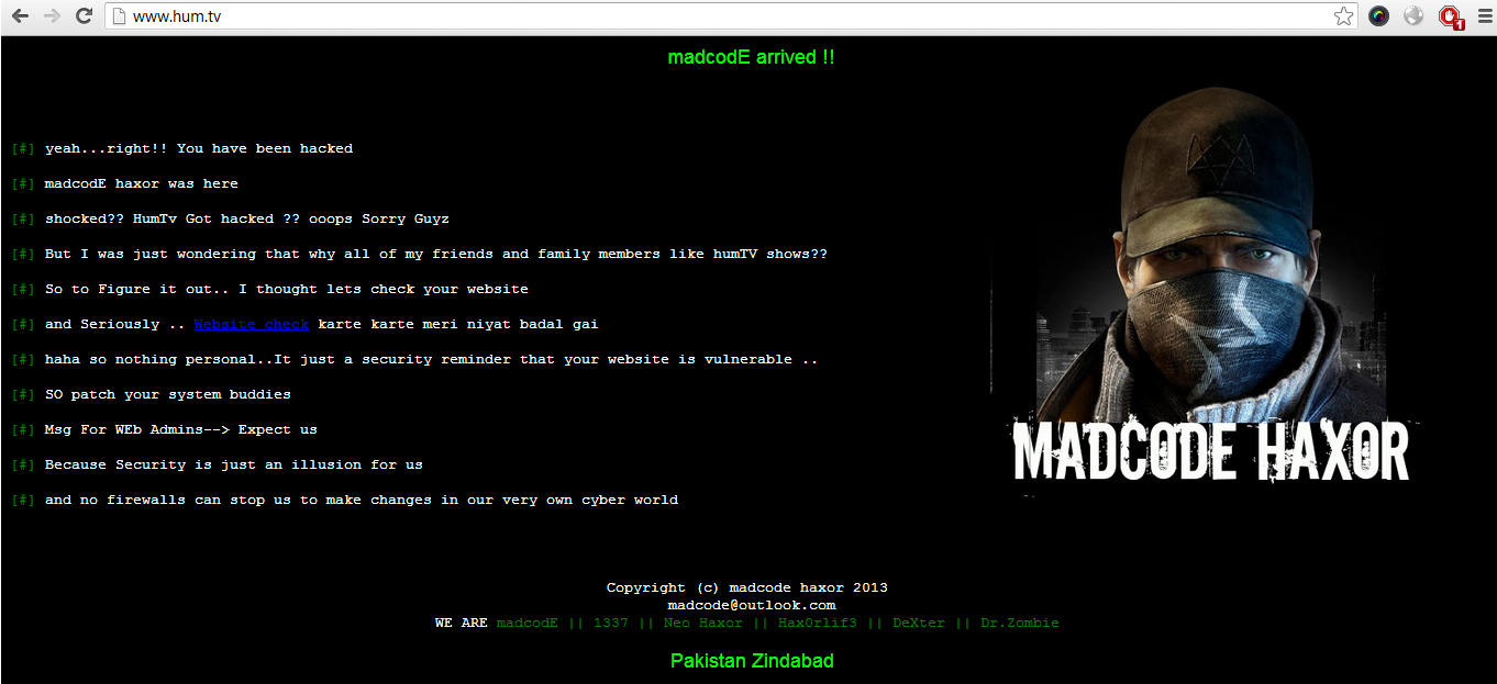 Website of Pakistani Entertainment Channel HUM TV Hacked by MadcodE