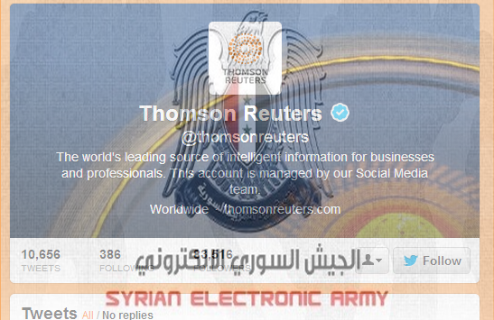 Thomson Reuters Official Twitter Account Hacked by Syrian Electronic Army