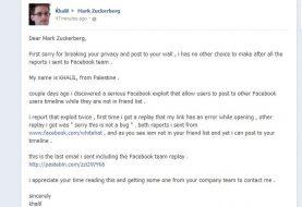 Palestinian hacker posts Facebook vulnerability report on Zuckerberg's wall