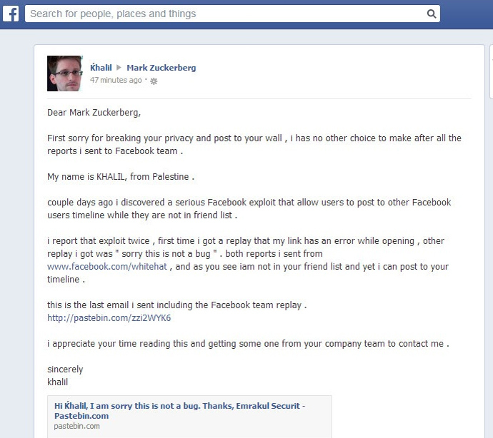 Palestinian hacker posts Facebook vulnerability report on Zuckerberg's wall
