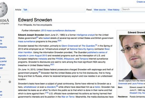 Snowden Wikipedia Page edited from a senate computer, calling him a Traitor
