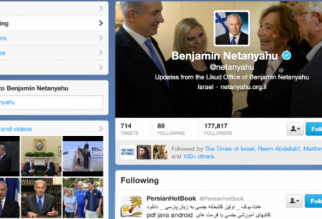 Israeli PM's Twitter account caught following Iranian porn Twitter account