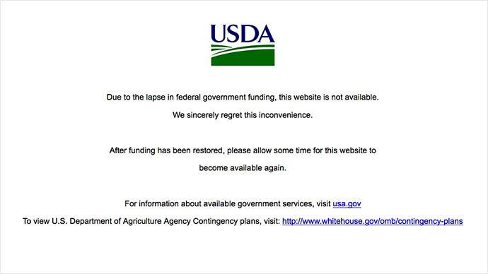 United States Department of Agriculture Website Taken DOWN Following 1st Government Shutdown