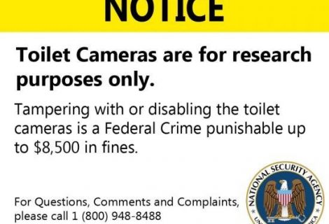 NSA: Toilet Cameras are for Research Purposes Only.