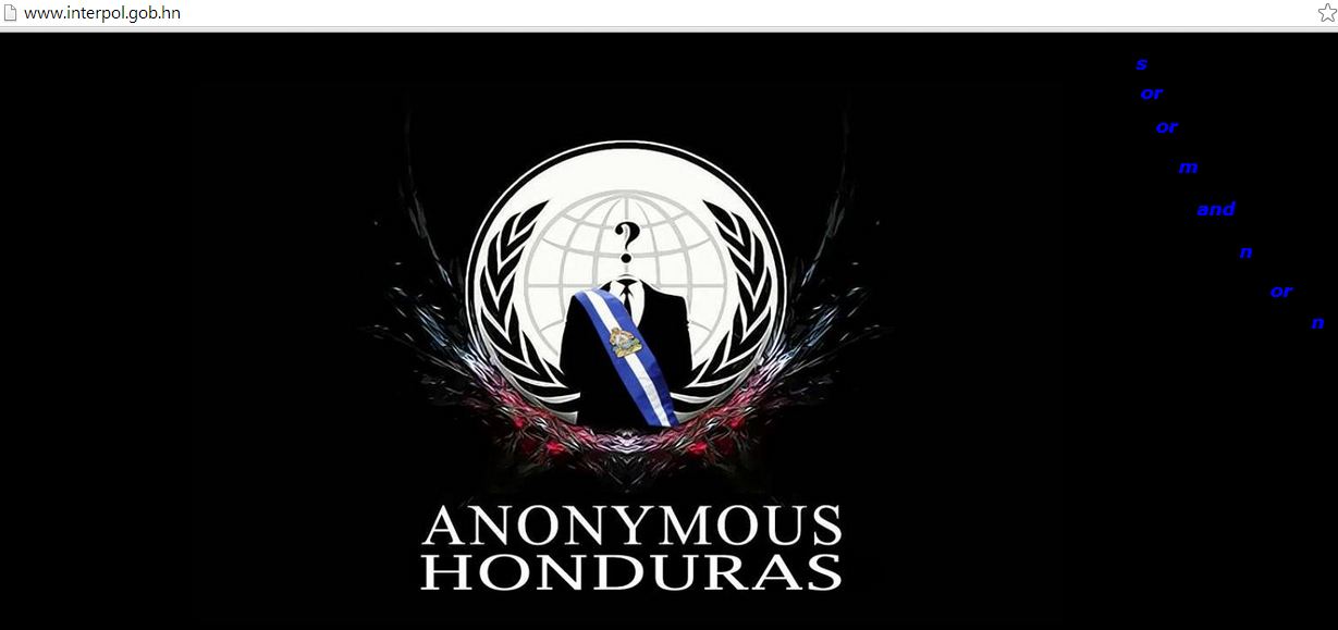 Anonymous Honduras hacks Interpol Honduras and 6 other government websites against electoral fraud