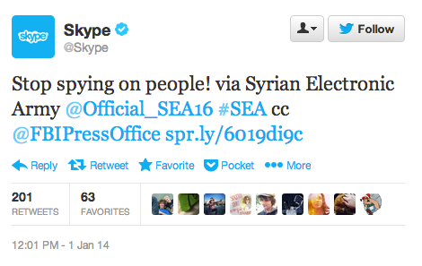 Stop Spying on People says Syrian Electronic Army after hacking Skype's Blog, Facebook and Twitter accounts.