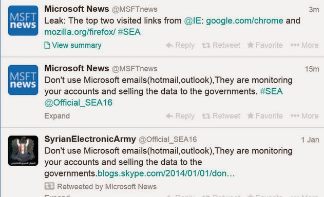 The Official Microsoft Blog and Twitter account Hacked by Syrian Electronic Army